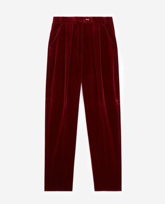 The Kooples Burgundy carrot trousers in velvet