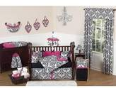 Hot Pink, Black and White Isabella Bed Skirt for Toddler Bedding Sets by Sweet Jojo Designs