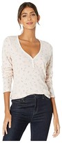 Michael Stars Vintage Floral Thermal Nadine Long Sleeve Henley Top (Champagne) Women's Clothing