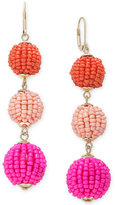 INC International Concepts Gold-Tone Colored Bead Triple Drop Earrings, Created for Macy's