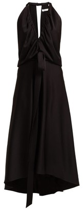 Chloé V-neckline Gathered Satin Midi Dress - Womens - Black