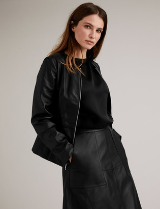 Marks and Spencer Leather Collarless Jacket