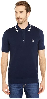 Fred Perry Twin Tipped Knitted Shirt (Deep Carbon) Men's Clothing