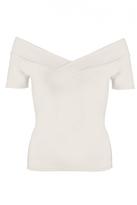 Quiz Cream Bardot Short Sleeve Top