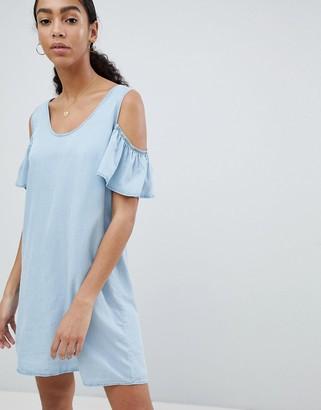 Noisy May cold shoulder denim shift mini dress