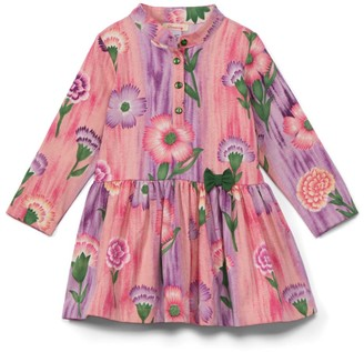 Sweetdil Girls' Casual Dresses - Pink Ombre Floral Bow-Accent Drop-Waist Dress - Toddler & Girls