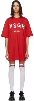 MSGM Red Paint Brushed Logo T-Shirt Dress
