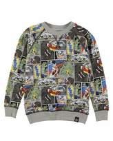 Molo Romeo Cartoon Raglan Sweatshirt, Gray/Multicolor, Size 4-12