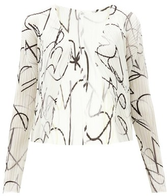Pleats Please Issey Miyake Squiggle-print Technical-pleated Cardigan - White Black