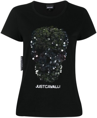 Just Cavalli embroidered skull logo T-shirt