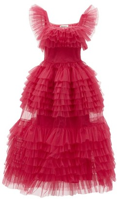 Molly Goddard Pascale Frilled Tulle Midi Dress - Pink