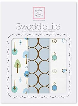 Swaddle Designs Marquisette Swaddle Blankets, Premium Cotton Muslin, SwaddleLite Set of 3, Cute & Calm, Pastel Blue