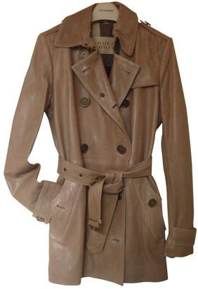 Burberry Camel Leather Trench Coat for Women