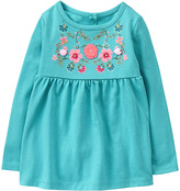 Gymboree Teal Floral-Embroidery Knit Tunic - Infant & Toddler