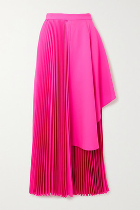 Christopher John Rogers Asymmetric Pleated Neon Wool-blend Midi Skirt - Bright pink