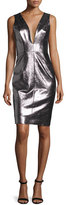 Milly Callie Metallic Leather Sheath Dress, Gunmetal