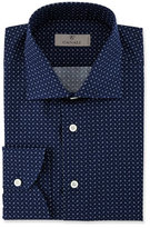 Canali Modern Fit Pine-Print Dress Shirt, Navy