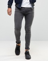 Pull&Bear Super Skinny Jeans In Dark Gray Wash