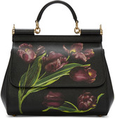 Dolce & Gabbana Black Tulip Medium Miss Sicily Bag
