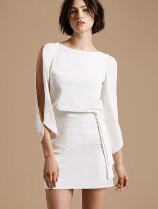 Halston Long Slit Sleeve Crepe Dress