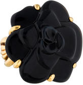 Chanel 18K Onyx Camellia Cocktail Ring