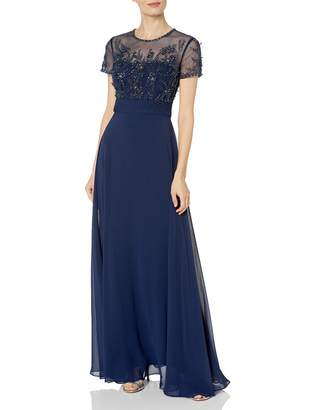 JS Collections Women's Illusion Mesh Beaaded Gown