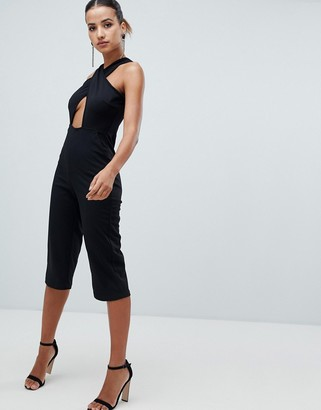 AX Paris cross front straight leg jumpsuit