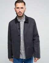 Asos Waxed Jacket with Cord Collar In Black