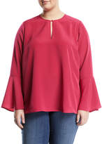 Melissa McCarthy Bell-Sleeve Button-Keyhole Blouse, Plus Size