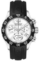 a・i・n Claude Bernard Women's 10209 3 AIN Aquarider Silver Chronograph Rotating Bezel Rubber Watch