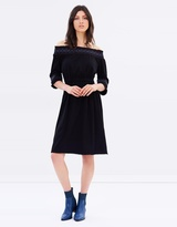 Whistles Bardot Embroidered Jersey Dress