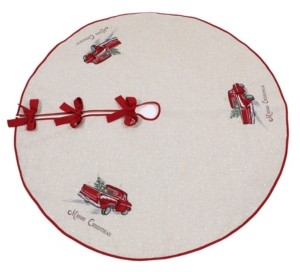 """Manor Luxe Merry Christmas Truck Embroidered Tree Skirt 56"""" Round"""