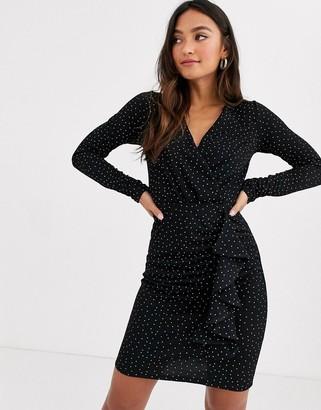 New Look long sleeve wrap mini dress in black polka dot
