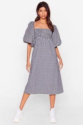 Nasty Gal Womens Gingham Puff Sleeve Oversize Smock Dress - Black - 4, Black