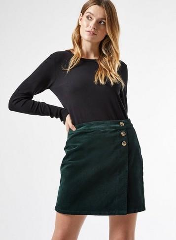 Dorothy Perkins Womens Emerald Green Corduroy Wrap Skirt, Green