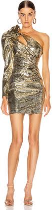 Dundas Sequin One Shoulder Mini Dress in Gold   FWRD