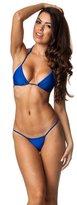 THE MESH KING COQUETA Brazilian Teeny Micro Thong Mini Bikini Swimsuit G String BLUE-XLARGE