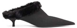 Balenciaga Faux-fur Lined Kitten Heels - Black