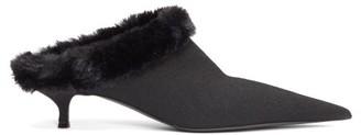 Balenciaga Faux-fur Lined Kitten Heels - Womens - Black