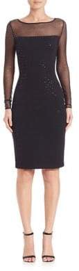 St. John Milano Sequined Illusion Sheath Dress