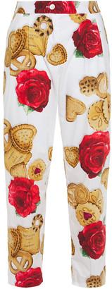 Dolce & Gabbana Printed Cotton-poplin Straight-leg Pants