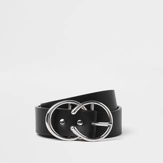 River Island Black silver tone horseshoe double ring belt