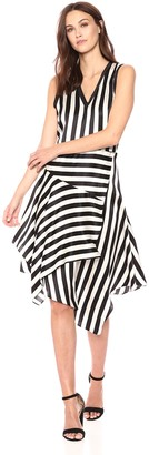 Nicole Miller Women's Getaway Stripe Asymmetrical Dress