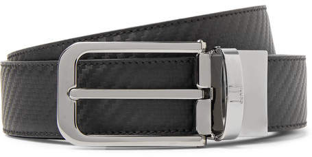 Dunhill 3cm Black And Dark-Brown Reversible Chassis Leather Belt