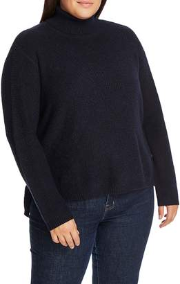 1 STATE 1.State Side Button Waffle Stitch Turtleneck Sweater