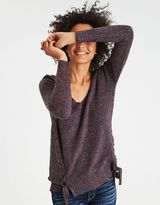 American Eagle Outfitters AE Lace-Up V-Neck Jegging Pullover