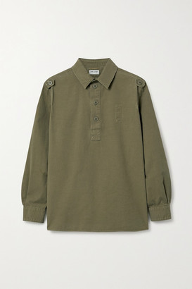 Saint Laurent Distressed Cotton Top - Army green