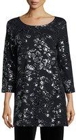 Joan Vass Animal Sequined Tunic, Black, Petite