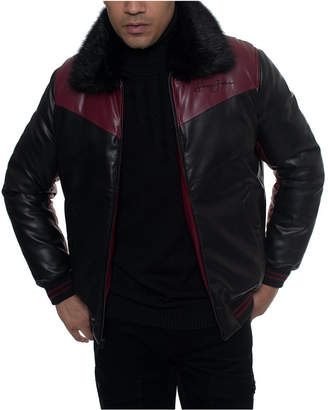 Sean John Men Faux Leather Mixed Media Chevron Quilt Bomber Jacket with Removable Faux Fur Collar