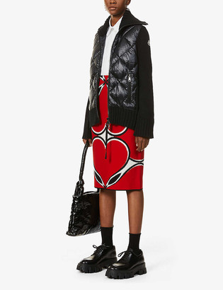 Moncler Tricot logo-embroidered shell-down and wool jacket